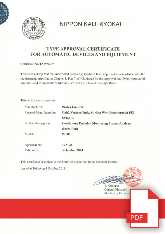 Type Approval Certificate For Marine Automatic Devices & Equipment Japan